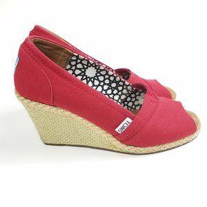 "Toms Calypso Canvas 3.5"" Red Wedge Peep Toe Shoe"